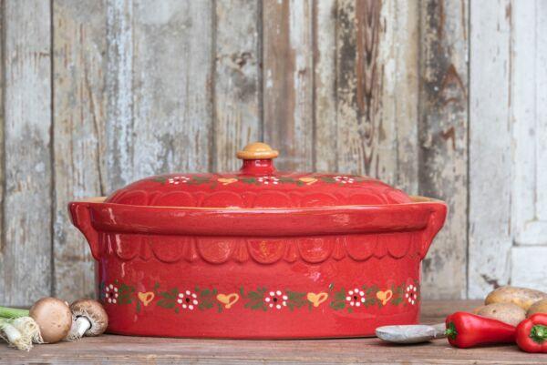 Terrine ovale n°0, rouge, 'Petites Fleurs Coeurs'