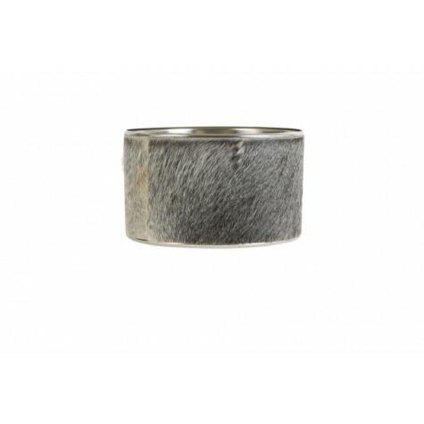 Lampenschirm Kuhfell grau, Zylinder Ø30x18 cm