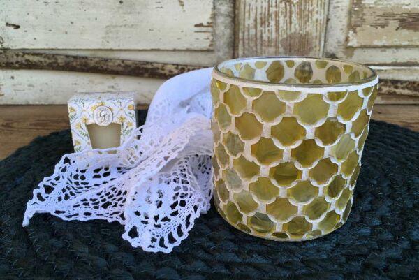 Windliche 'Arabesque', Glas, yellow