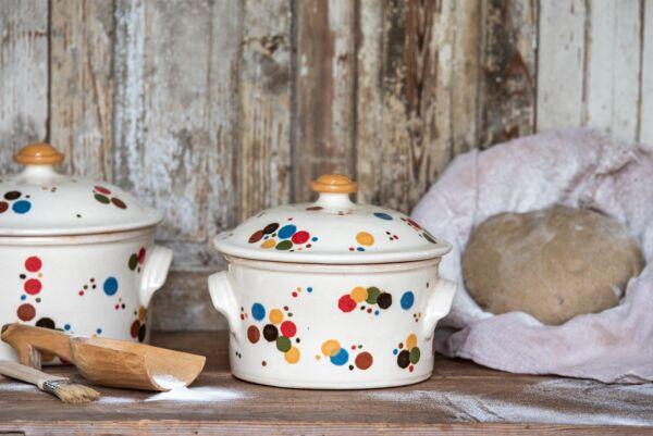 Brotbacktopf, wiß mit Konfetti-Dekor - auch zum Schmoren geeignet, holzbackofenfest