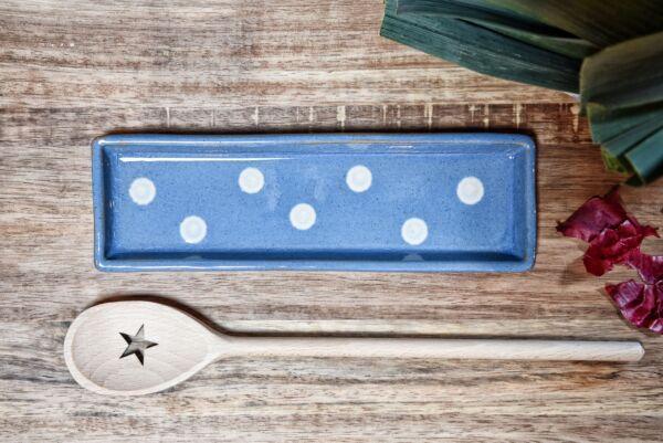 Lèche cuillière, bleu clair pois blanc