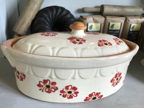 Terrine ovale n°2, blanc, 'Fleurs Jetées'