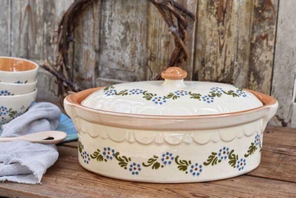 Terrine ovale n°2, blanc, 'Petites Fleurs Zig Zag'