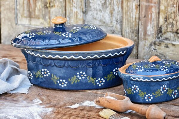Terrine ovale n°4, bleu, 'Petites Fleurs Zig Zag'