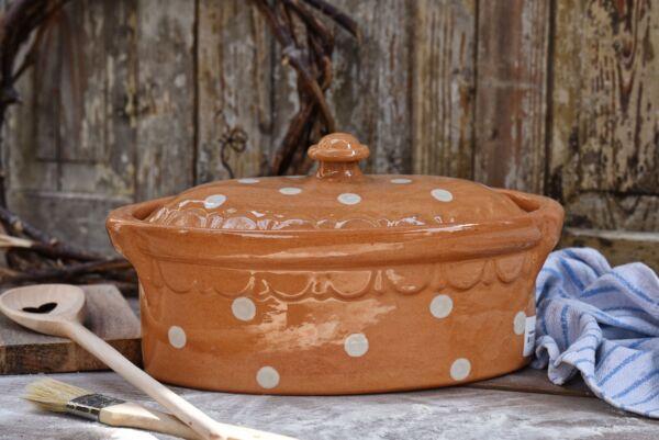 Brotbacktopf, beige mit Punkt-Dekor - auch zum Schmoren geeignet, holzbackofenfest