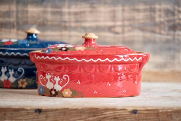 Brotbacktopf, rot mit Kätzchen-Dekor - auch zum Schmoren geeignet, holzbackofenfest