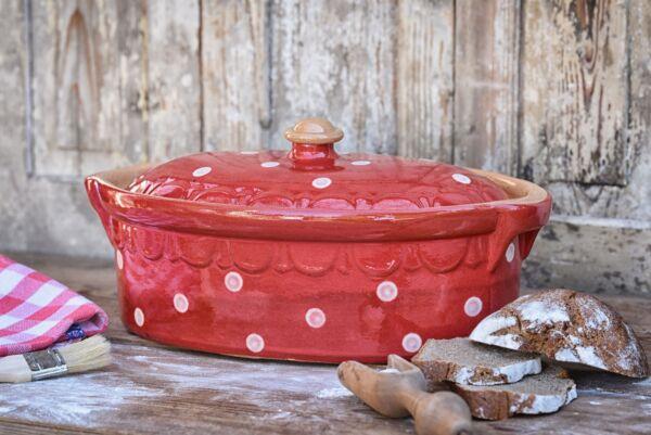 Brotbacktopf, Terrine / Bäckeroffe -  rot mit Punkt-Dekor - auch zum Schmoren geeignet, holzbackofenfest