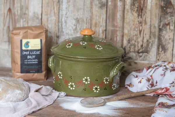 Brotbacktopf, grün mit floralem Dekor - auch zum Schmoren geeignet, holzbackofenfest