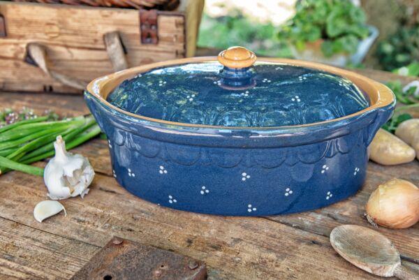 Terrine ovale n°2, bleu, 'Plumetis'