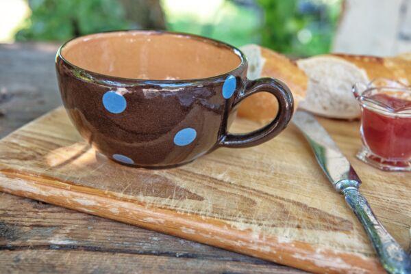 Tasse, ø 14 cm, choco pois bleu clair