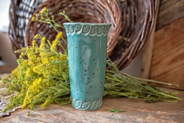 Vase, schlank, türkis