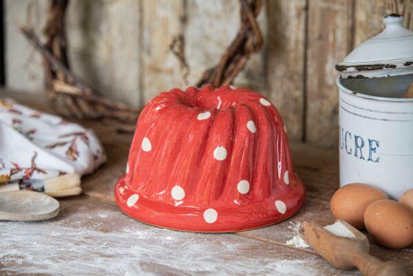 Kougelhopf, ø 20 cm, rouge pois blanc