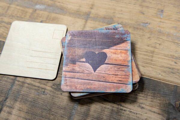Holzpostkarte 'Stilles Örtchen'