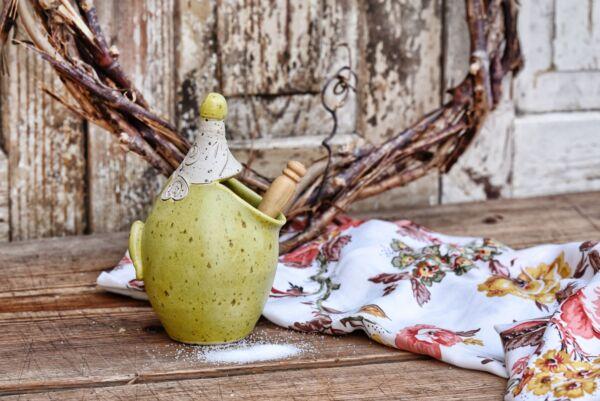 Salzmaus aus Keramik, anis matt