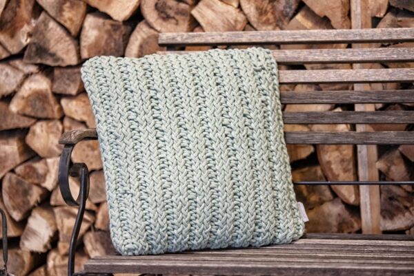 Kissen KNITTED, 45x45 cm, Patentmuster, mint