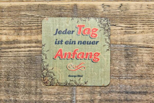 Holzpostkarte 'Jeder Tag ist ein neuer Anfang'