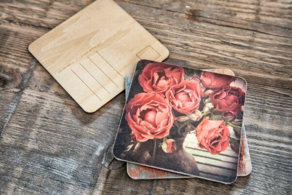 Holzpostkarte 'Bauernrosen'