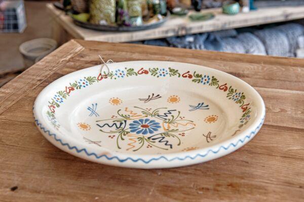 Plat à légumes, ø 35 cm, blanc, 'Grande Fleur centrale Petites Fleurs'