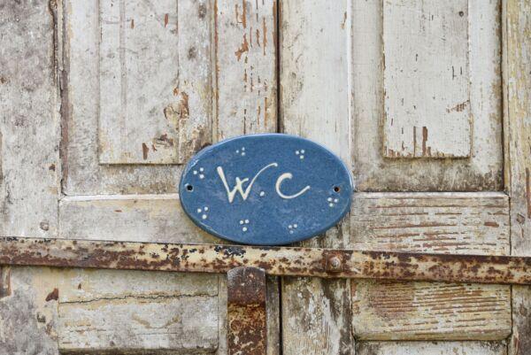 Plaque de porte, 14 cm, bleu clair, 'Plumetis'