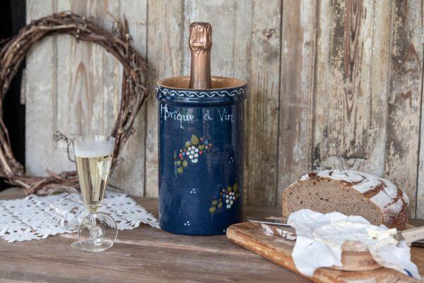 Brique à vin, bouteille 1L, bleu, 'Raisins Jetés'