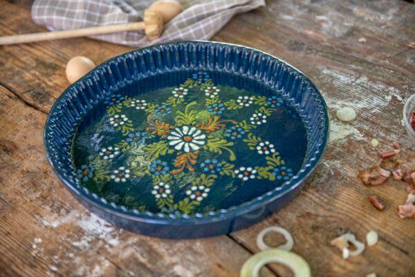 Plat moule à tarte, ø 32 cm, bleu, 'Fleur centrale Petites Fleurs Etoile'