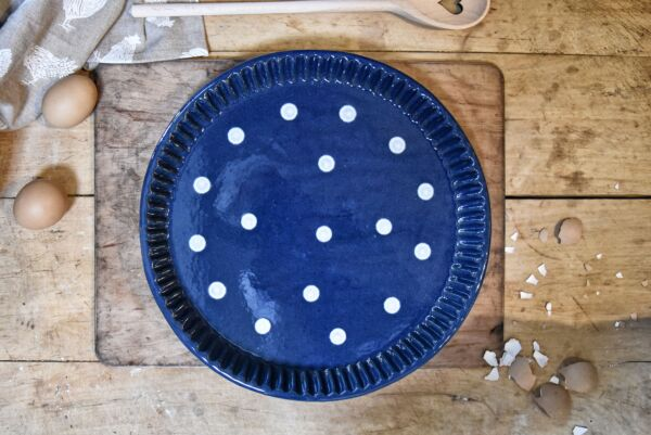 Plat moule à tarte, ø 32 cm, bleu pois blanc