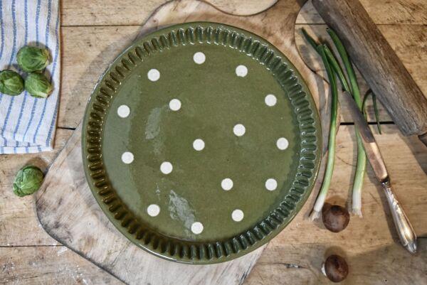 Plat moule à tarte, ø 32 cm, vert pois blanc