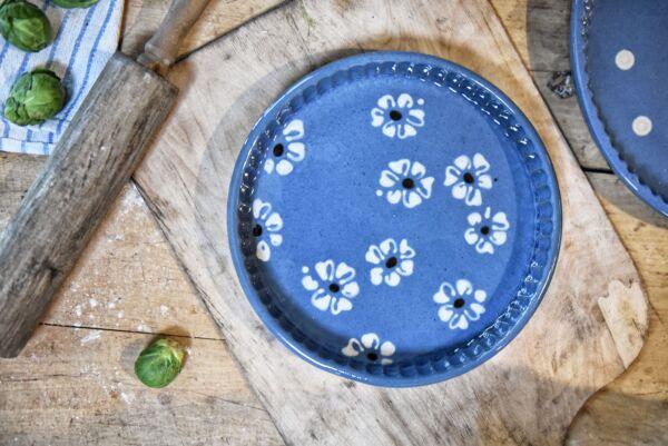 Plat moule à tarte, ø 25 cm, bleu clair, 'Fleurs Jetées'