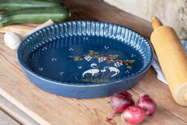 Plat moule à tarte, ø 32 cm, bleu, 'Cigognes raisins'