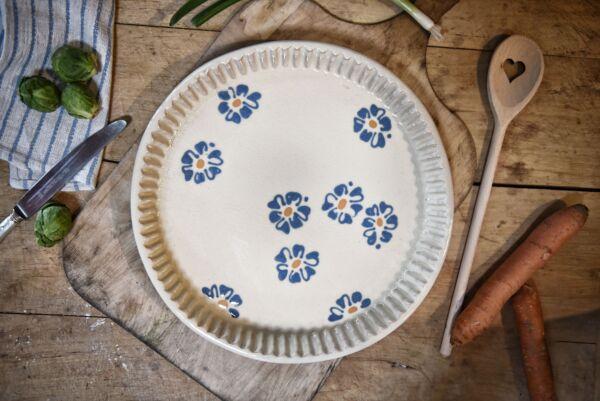 Plat moule à tarte, ø 32 cm, blanc, 'Fleurs Jetées'