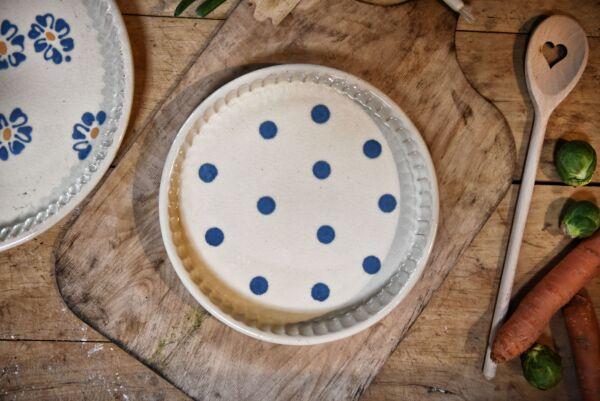 Plat moule à tarte, ø 25 cm, blanc pois bleu clair