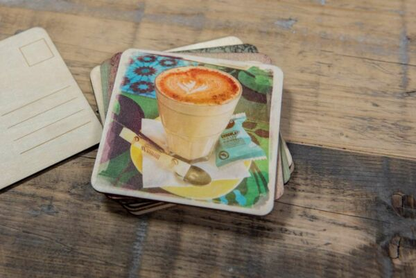 Holzpostkarte 'Chai Latte'