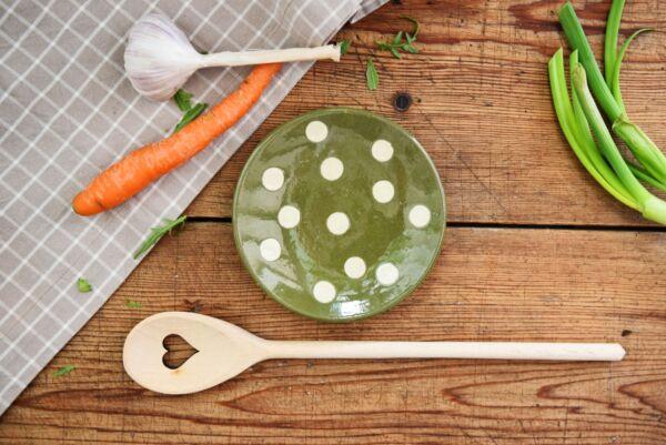 Assiette, ø 14 cm, vert pois blanc