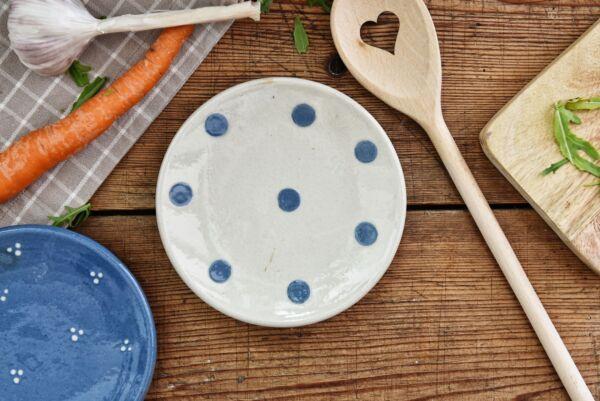 Assiette, ø 14 cm, blanc pois bleu clair