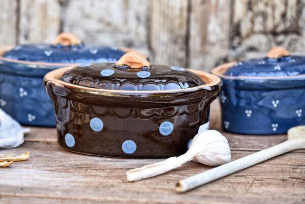 Terrine ovale n°7, choco pois bleu clair