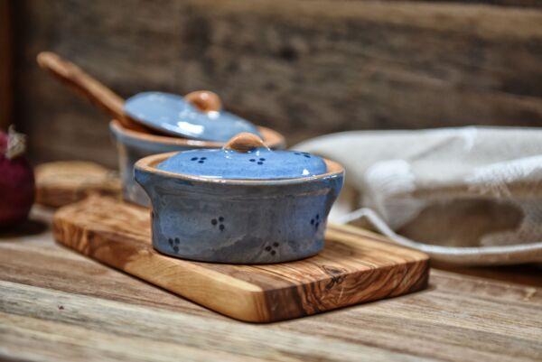 Terrine ovale n°10, bleu clair, 'Plumetis' bleu