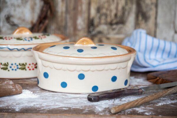 Brotbacktopf, weiß mit blauem Dekor - auch zum Schmoren geeignet, holzbackofenfest