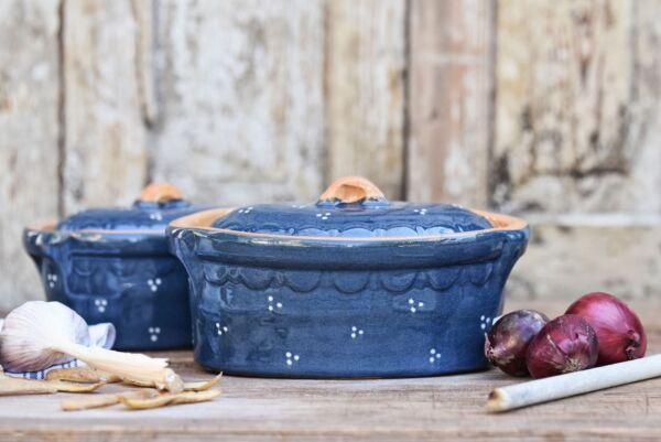 Terrine ovale n°8, bleu, 'Plumetis'