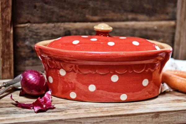 Terrine ovale n°4, rouge pois blanc