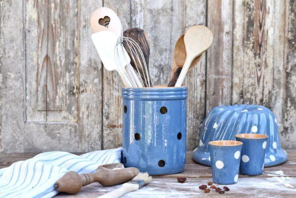 Pot à couverts, bleu clair pois choco