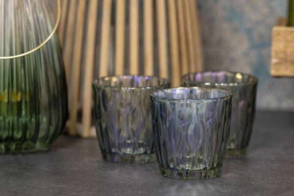 Teelicht VEDENE No.3, Ø9x9 cm,  grau/grün