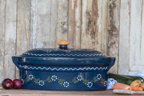 Terrine ovale n°0, bleu, 'Petites Fleurs Zig Zag'