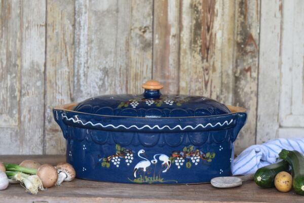 Terrine ovale n°2, bleu, 'Cigognes Raisins'
