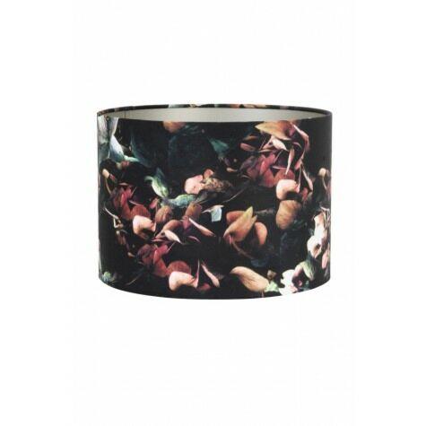 Lampenschirm, rund, 25x25x18 cm VELOURS Hortensie/schwarz