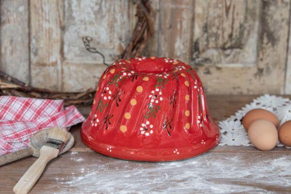 Kougelhopf, ø 22 cm, rouge, 'Petites Fleurs blanches'