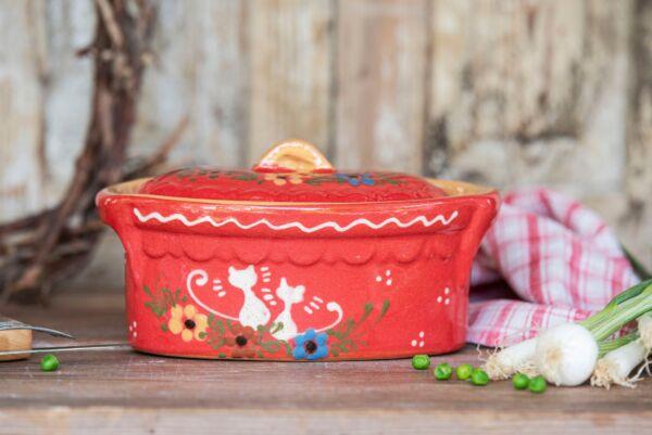 Terrine ovale n°7, rouge, 'Chats'