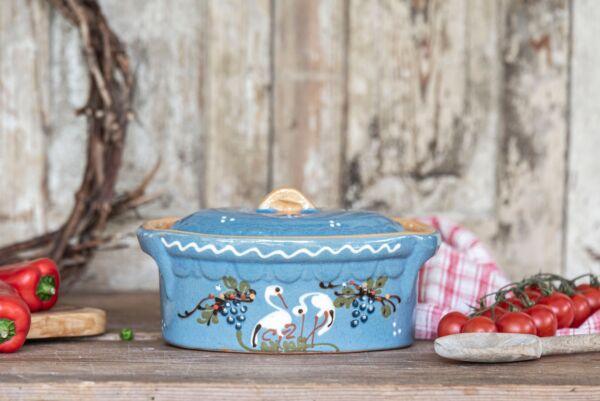Terrine ovale n°7, bleu clair, 'Cigognes Raisins'