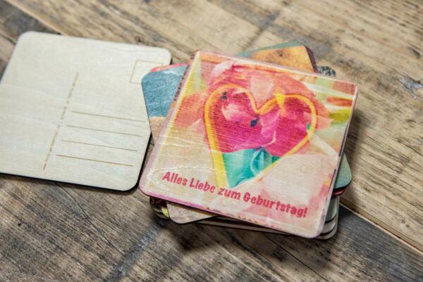 Holzpostkarte 'Alles Liebe zum Geburtstag'