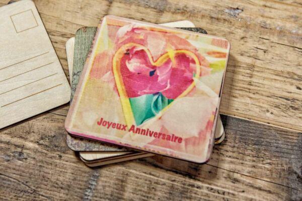 Holzpostkarte 'Joyeux Anniversaire'