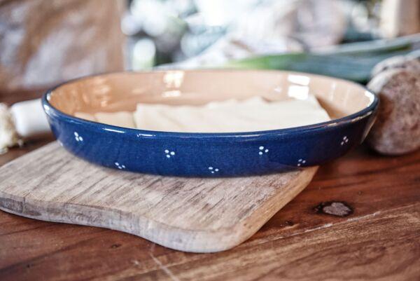 Plat oval, 30 cm, bleu, 'Plumetis'